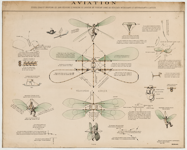 Design drawings for a man-powered flying machine with manually controlled wings