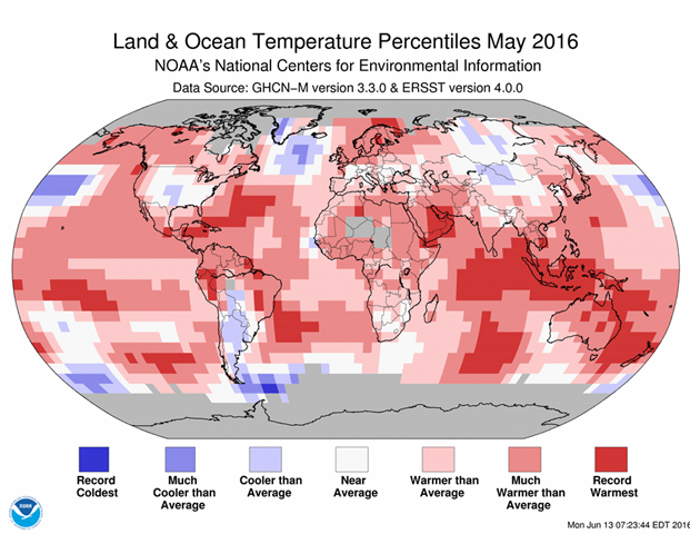 Blended land and sea surface temperature percentiles for May 2016. Graphic: NOAA