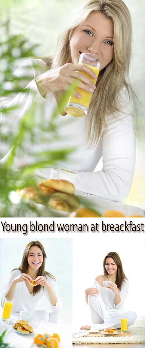 Stock Photo: Young blond woman at breakfast