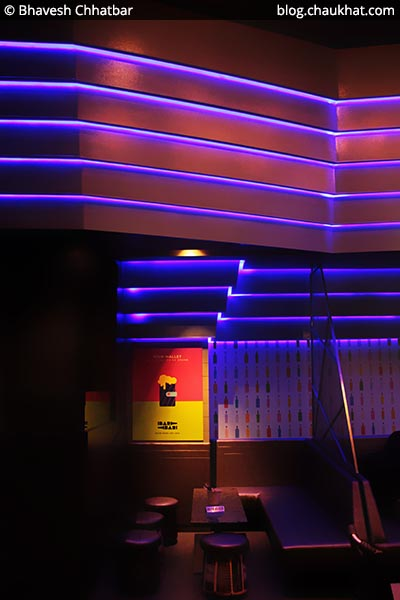 Seating with lights, BarBar, Phoenix Market City, Viman Nagar, Pune