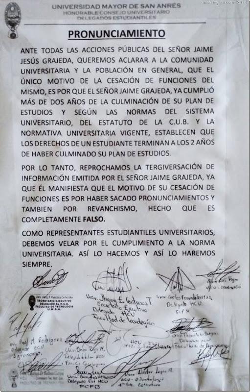 Por esta razón Jaime Jesús Grájeda García ya no es dirigente de la FUL de la UMSA