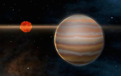 ilustração do exoplaneta 2M1207b e sua estrela