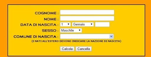 Calcola codice fiscale inverso online dating