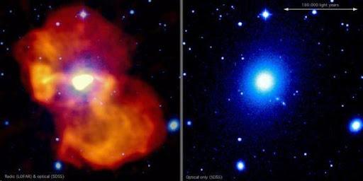 這張假彩色圖像展示的便是M87星系。 圖像中右側為可見光波段觀測結果,數據源自SDSS項目,左側則是射電波段觀測結果,數據源自LOFAR。 可以看到,在中央位置上射電輻射的亮度非常高,顯示這里便是驅動噴流的黑洞所在位置