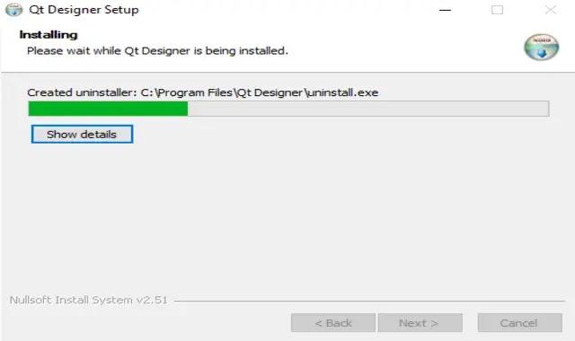 الانتظار لحين انتهاء تثبيت Qt Designer