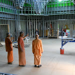 Swami Prapannananda and resident monks inspect temple