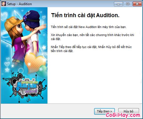 Nhấn Tiếp Theo để cài Audition