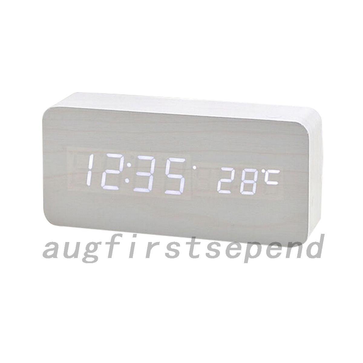 digital wanduhr stranduhr uhr wecker holz mdf pvc led ziffern thermometer ebay. Black Bedroom Furniture Sets. Home Design Ideas
