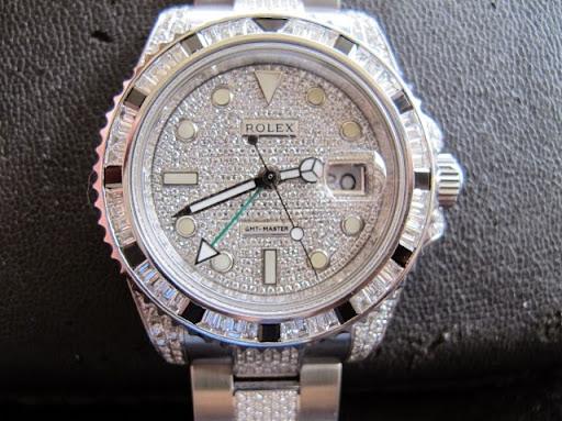 Bán đồng hồ rolex gmt – model 116710 – dây hạt xoàn – vỏ hạt xoàn – mặt hạt xoàn – size 40mm