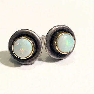 18K Gold, Sterling Silver, and Opal Earrings