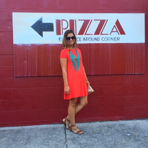 boho chic, swing dress, old navy, target, statement necklace, pizza night