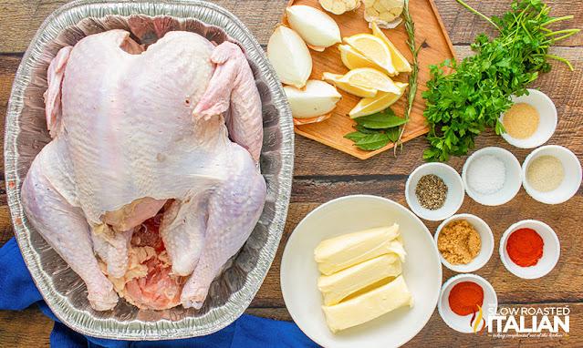 Smoking a Turkey ingredients: turkey, butter, brown sugar and spices