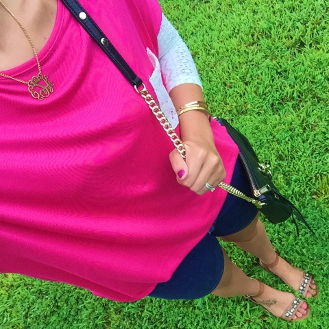 monogram necklace, preppy style, jeweled sandals