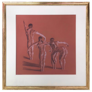 Signed Charcoal Dancer Drawing, 1979