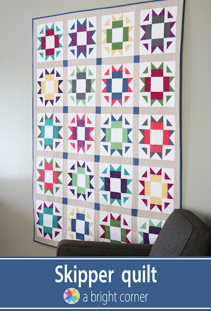 Skipper quilt pattern from A Bright Corner - fat quarter friendly modern star quilt pattern