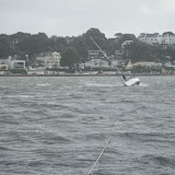View from the ALB showing the towline running back to the yacht - 27 October 2013. Photo credit: RNLI Poole