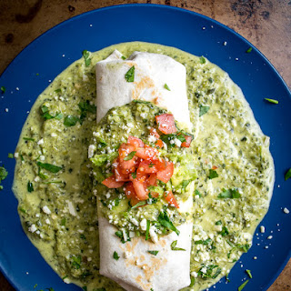 Wet Poblano Burrito -- Chicken Burrito With Creamy Poblano Sauce