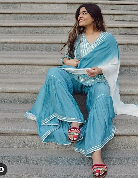 Fashionably Stylish Palazzo Kurta set Online from Label Ishnya to shop this Season.
