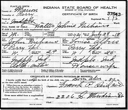 Niehaus, Walter, Birth Certificate, 1918