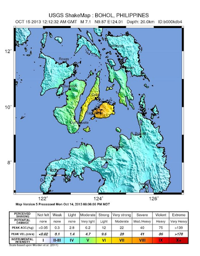 Bohol-Cebu earthquake map