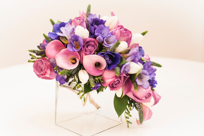 Ramo de novia en tonos rosas y malvas