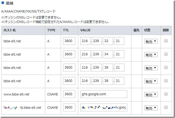 12_お名前ドットコム_レコード追加入力後