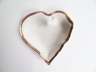 Jan Burtz Gold Luster Porcelain Heart dish