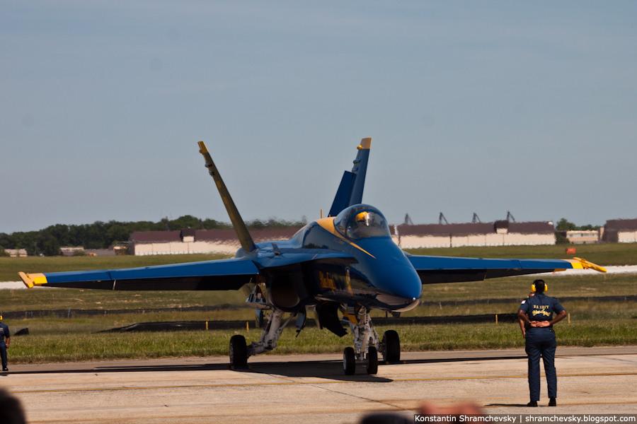 USA Maryland Andrews Air Force Base Blue Angels F-18 США Мэриленд Авиабаза Эндрюс Голубые Ангелы Ф-18
