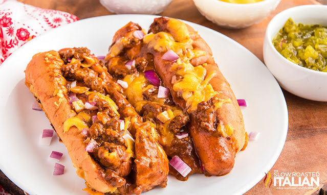 Baked Chili Cheese Dogs on a plate