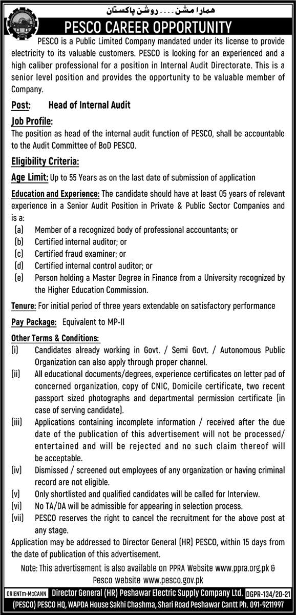Peshawar Electric Supply Company (PESCO) Jobs June 2021