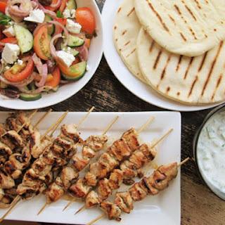 Chicken Souvlaki With Tzatziki Sauce and Greek Salad.
