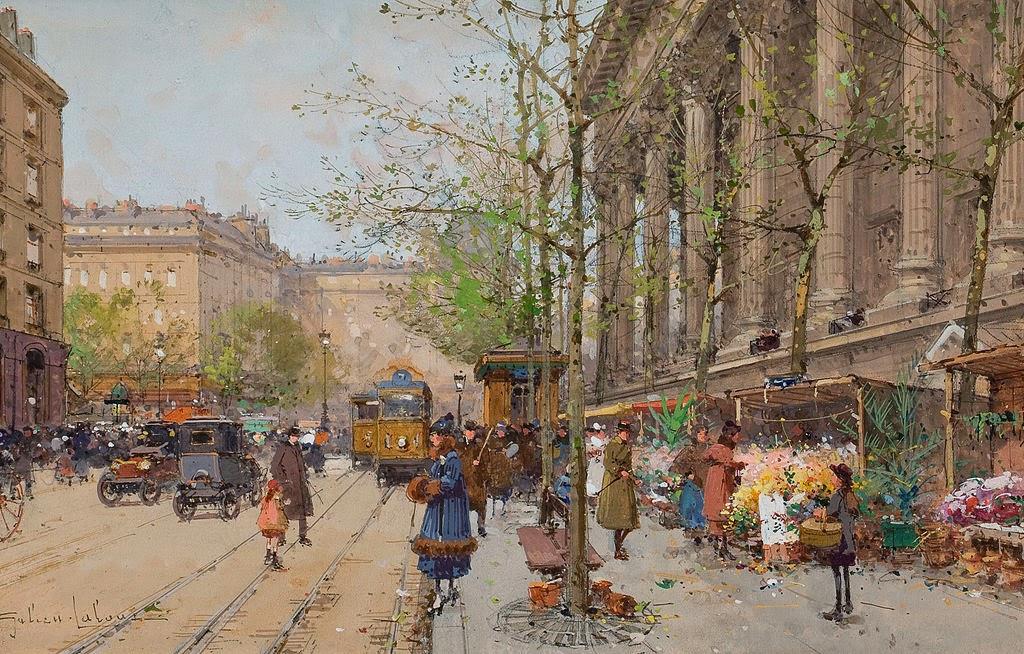 Eugène Galien-Laloue - Marché aux fleurs Place de la Madeleine