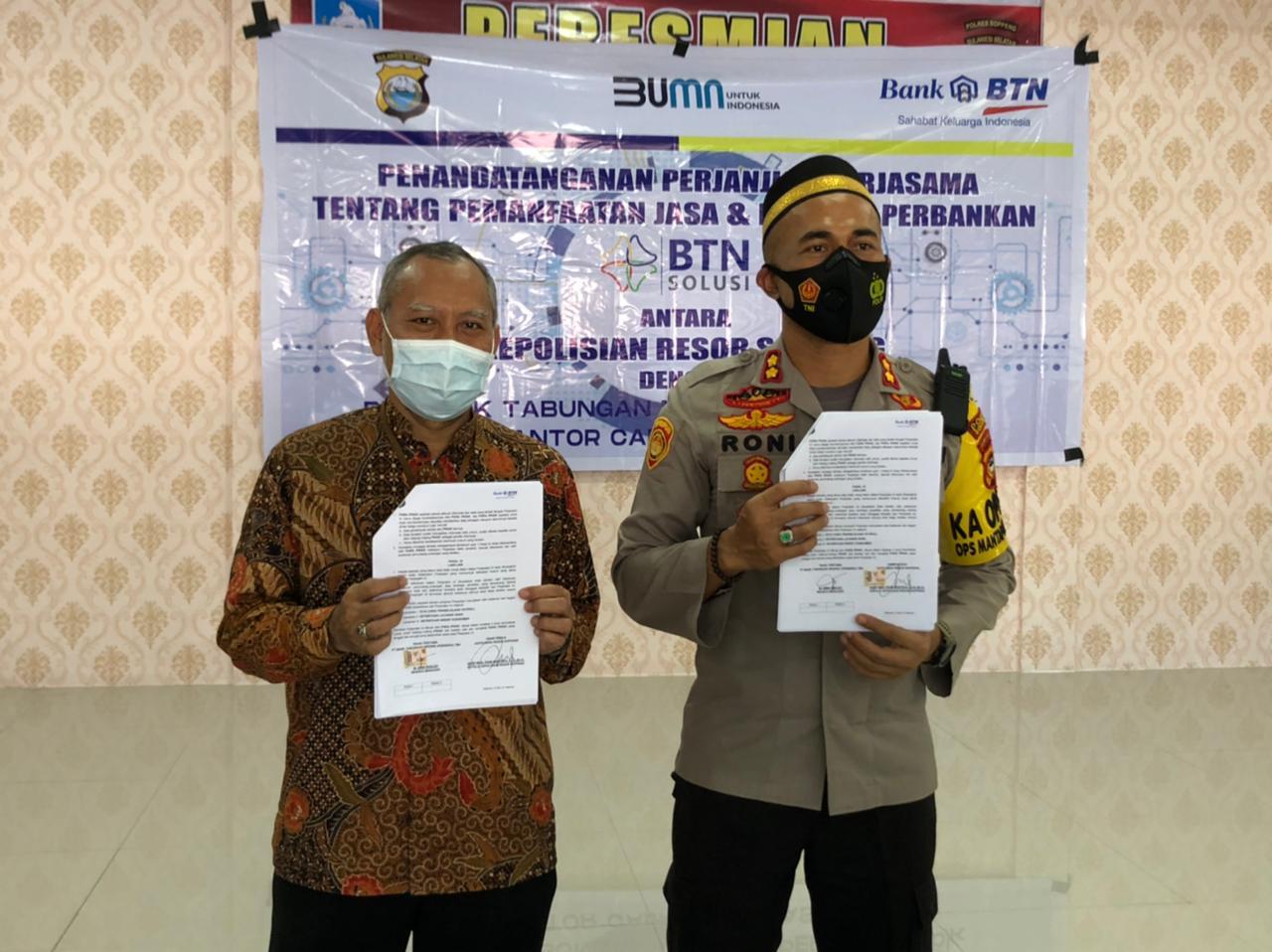 Sejahterahkan Personil, Polres Sopppeng Gelar MoU bersama Bank BTN