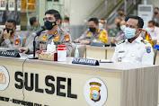 Bersama Kapolda, PLT Gubernur Sulsel Ikuti Rakor Lintas Sektoral Pengamanan Hari Raya Idul Fitri