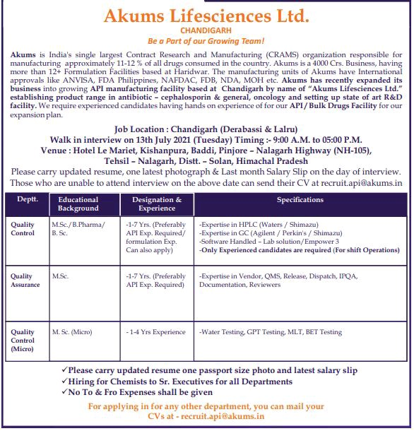 Walk-on By Akums Drugs For QA, QC & Microbiology