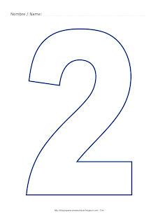 Lámina para colorear y pintar el número dos en color azul