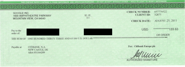my first check from google