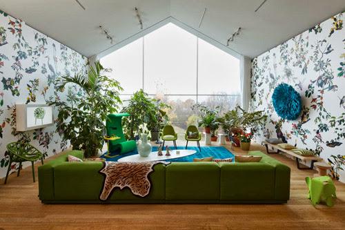 sofa màu xanh lá cây