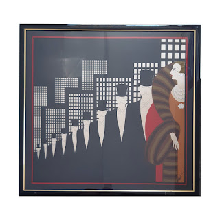 Erté Framed Top Hats Silk Scarf