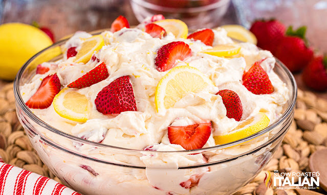 Strawberry Lemonade Cheesecake Salad in a glass bowl
