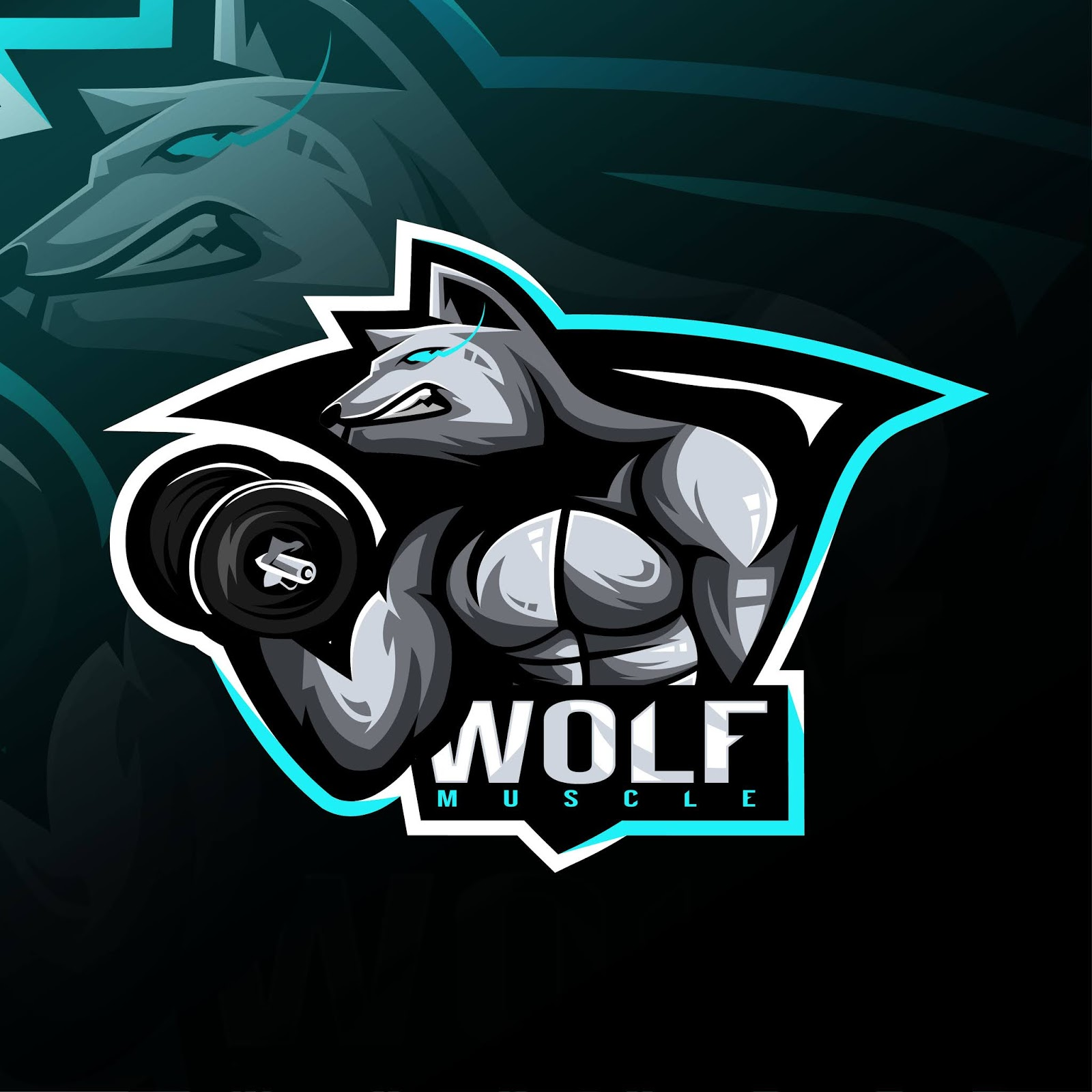 Wolf Fitness Mascot Logo Esport Design Free Download Vector CDR, AI, EPS and PNG Formats
