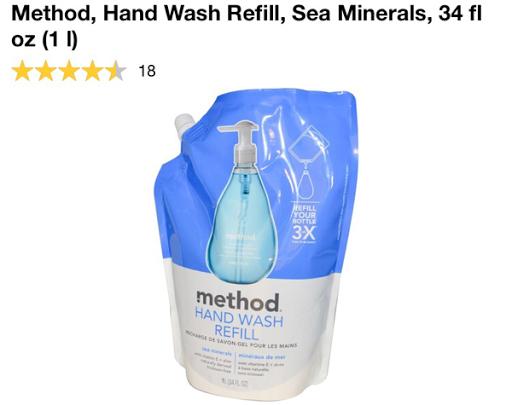 صابون غسيل اليدين بعدة روائح وقابل للتعبئة من اي هيرب Method, Gel Hand Wash Refill