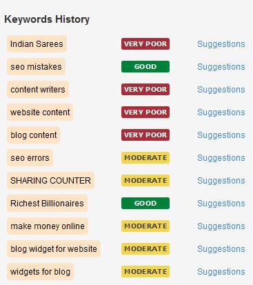 Keywords History in webtexttool