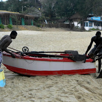 Fishermen readying their boats for the day