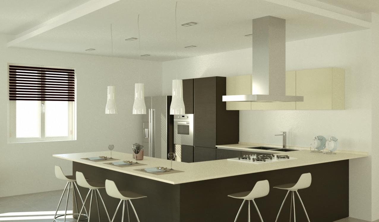 Progettazione arredamento con rendering 3d carminati e - Cucine ad angolo con penisola ...