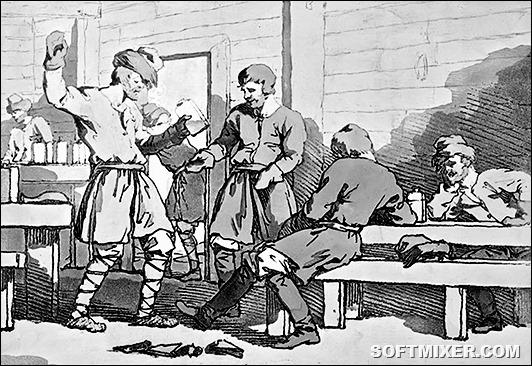 'A Kabak'; Russian drinking scene, 1812. Artist: John Augustus Atkinson
