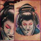 shoulder blade geisha - tattoos for men - Shoulder Blade Tattoos Designs
