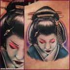 shoulder blade geisha - tattoos for men - Shoulder Blade Tattoos Designs