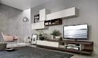 mobile da soggiorno Lampo con tv girevole su base, basi rovere ardesia pensili bianchi,.jpg
