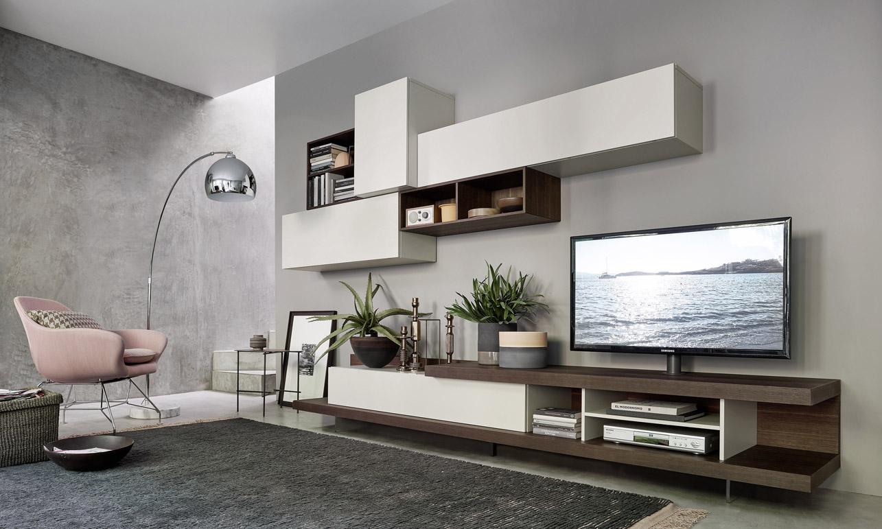 mobile da soggiorno Lampo con tv girevole su base, basi rovere ardesia ...